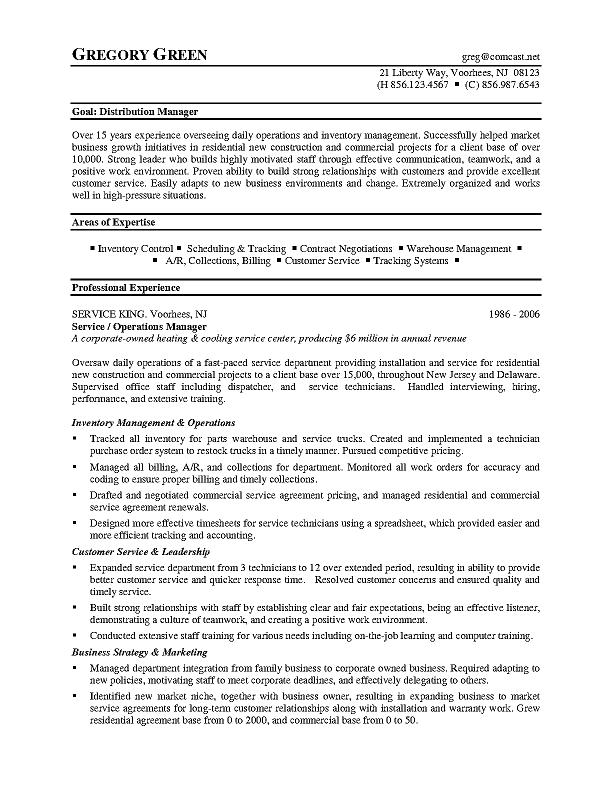 distribution manager - Warehouse Distribution Resume
