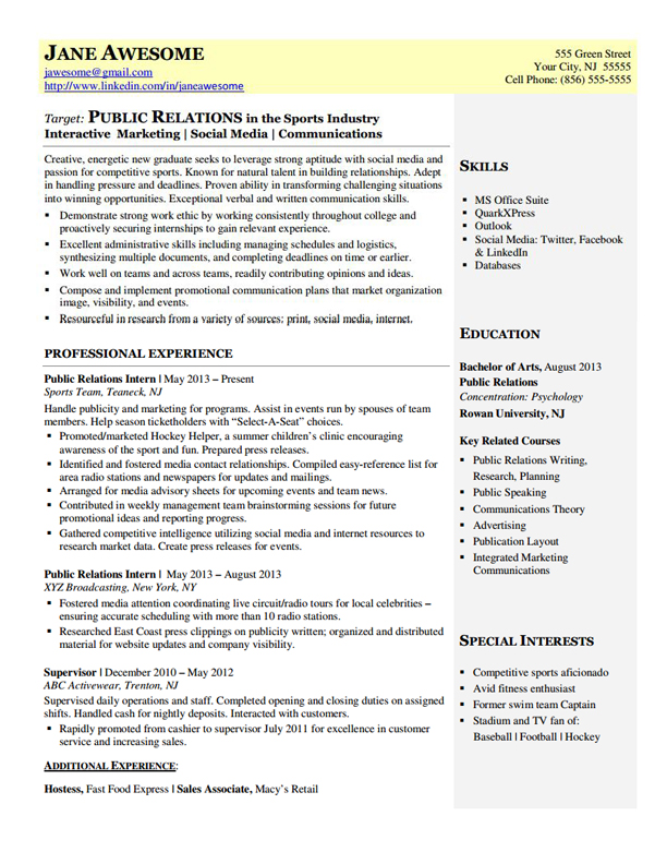 Public Relations Entry Level Dynamic Resumes Of Nj